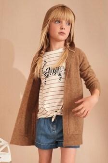 Pohodlný sveter na gombíky s okrúhlym výstrihom (3 – 16 rok.)