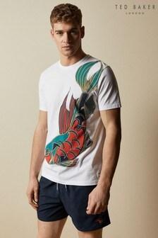 חולצת טי לשחיה עם הדפס של Ted Baker דגם Invest בלבן