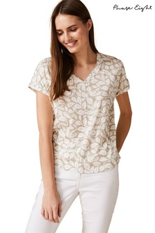 Phase Eight Neutral Hasina Leaf Print T-Shirt