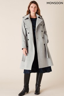 Monsoon Grey Wool Blend Trench Coat