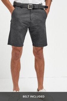 Fine Stripe Belted Shorts
