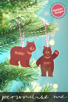 Personalised Family Sized Bear Baubles by Oakdene