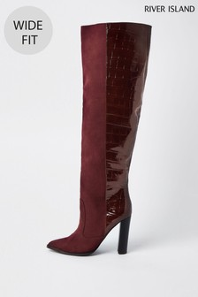 River Island Red Dark High Wide Leg Boots