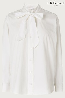 L.K.Bennett White Pierre Cotton Tie Neck Blouse