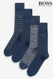 BOSS Blue Socks Four Pack Gift Set With Metal Tin