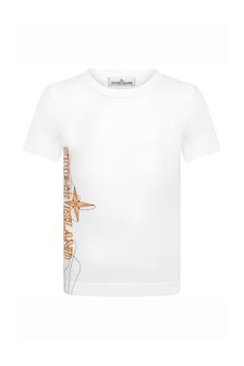 Stone Island Junior Boys White Cotton T-Shirt