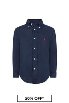 Ralph Lauren Kids Boys Navy Linen Shirt