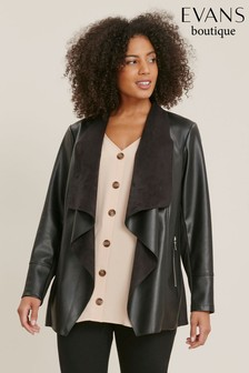 Evans Curve Black PU Waterfall Jacket
