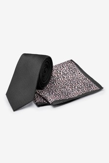 Tie With Leopard Print Pocket Square