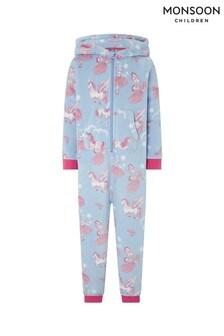 Голубая объемная пижама с изображением единорога Monsoon Vivianna