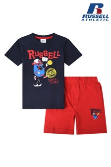 Russel Athletic Sporting Basket Bean T-Shirt And Shorts Set