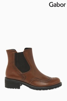 Gabor Brown Imagine Wide Foot Fit Leather Ankle Boots