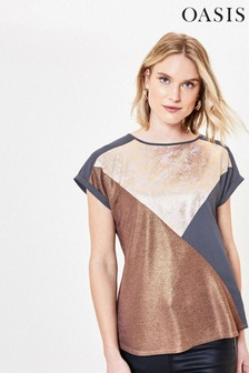 Oasis Pink Metallic Colourblock T-Shirt
