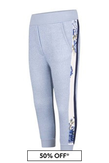 Girls Blue Glittery Rose Joggers
