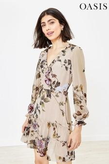 Oasis Natural Floral Ruffle Hem Skater Dress