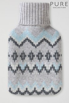Pure Collection Grey Cashmere Hotwater Bottle & Cover