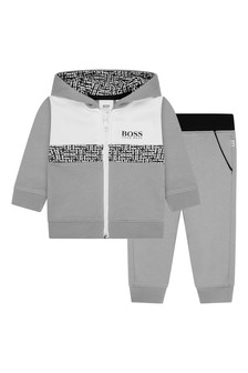 Baby Boys Grey & White Cotton Tracksuit