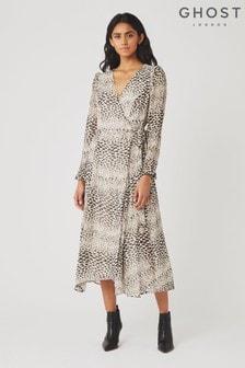 Ghost London Brown Sonal Print Georgette Dress