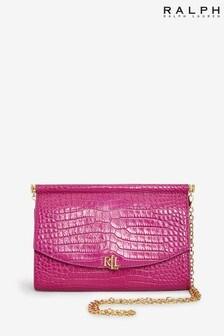 Ralph Lauren Moc Croc Leather Enfield Clutch Cross Body Bag