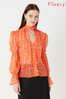 Finery London Orange Maygrove Printed Georgette Bouquet Shirt