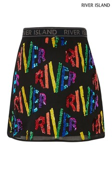 River Island 黑色RI彩虹綴飾A字短裙