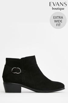 Evans Extra Wide Fit Black Buckle Ankle Boots
