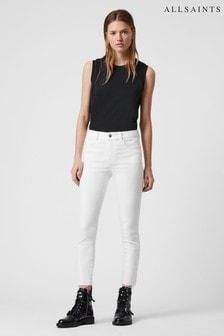 AllSaints White Miller Mid Rise Skinny Jeans