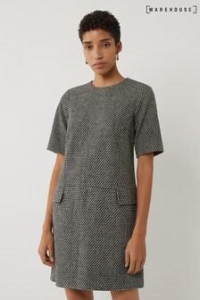 Warehouse Black Woven Mini Tunic Dress