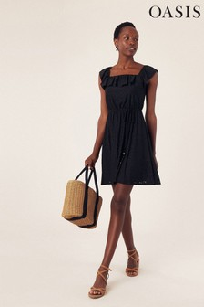 Oasis Black Broderie Square Neck Sundress