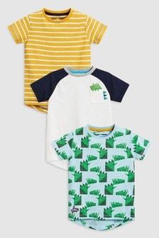 T-Shirts im Dreierpack, Dino-Motiv/blau/gestreift (3Monate bis 6Jahre)