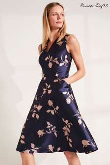 Phase Eight Navy Jordynn Jacquard Dress