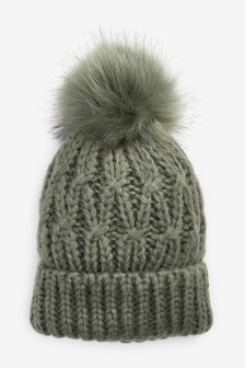 針織絨球帽