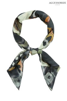 Accessorize Grey Wild Butterfly Silk Square Scarf