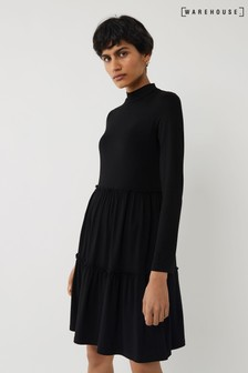 Warehouse Black Long Sleeve Tiered Mini Dress