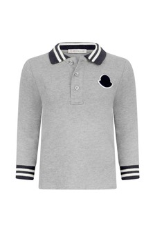 Baby Boys Grey Cotton Long Sleeve Polo Top