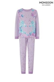 Monsoon Purple Hensley Unicorn Jersey Pyjamas