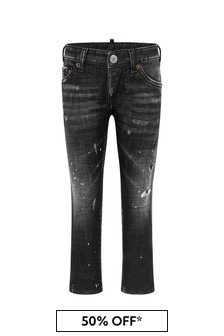 Kids Black Cotton Denim Jeans