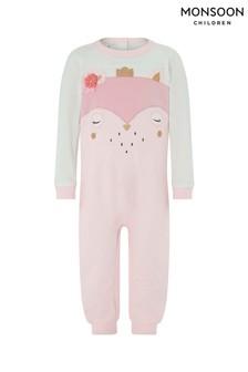 Monsoon Pink Baby Owl Sleepsuit