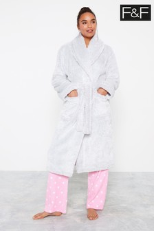 F&F Silky Grey Dressing Gown