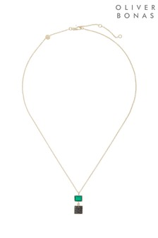 Oliver Bonas Gold Plated Jessa Square Stone Double Drop Necklace
