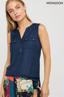 Monsoon Ladies Blue Suzie Snake Woven Front Top