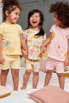 3 Pack Appliqué Lion Short Pyjamas (9mths-8yrs)