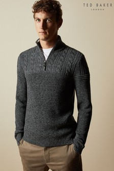 Ted Baker Ladders Cotton Blend Cable Knit Funnel Zip Jumper