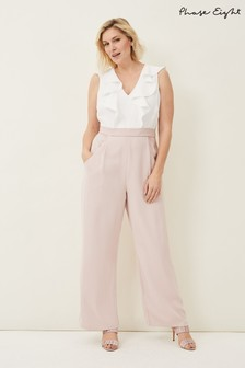 Phase Eight Pink Linda Frill Jumpsuit