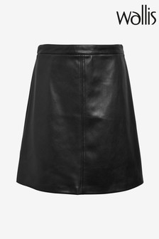 Wallis Black Faux Leather A-Line Skirt