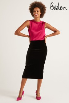 Boden Black Lorna Velvet Pencil Skirt