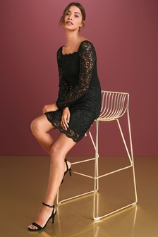 Lace Square Neck Dress