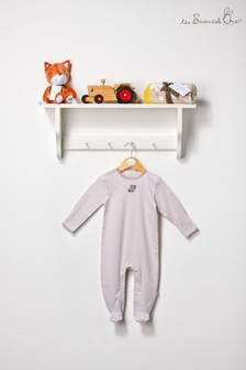 The Essential One Unisex Baby Sleepsuit In Khaki/White Stripe