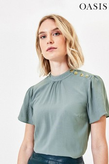 Oasis Green Button Shoulder T-Shirt