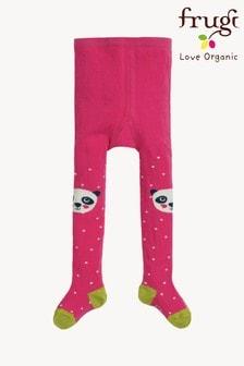 Frugi Fun Knee Tights In A Pink And Panda Design
